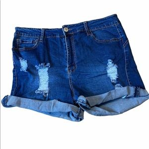 Forever 21 High Waisted Distressed Denim